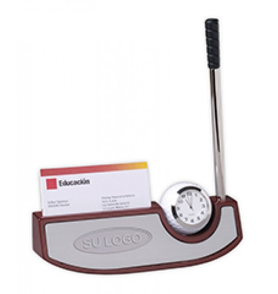 Base de madera con reloj golf